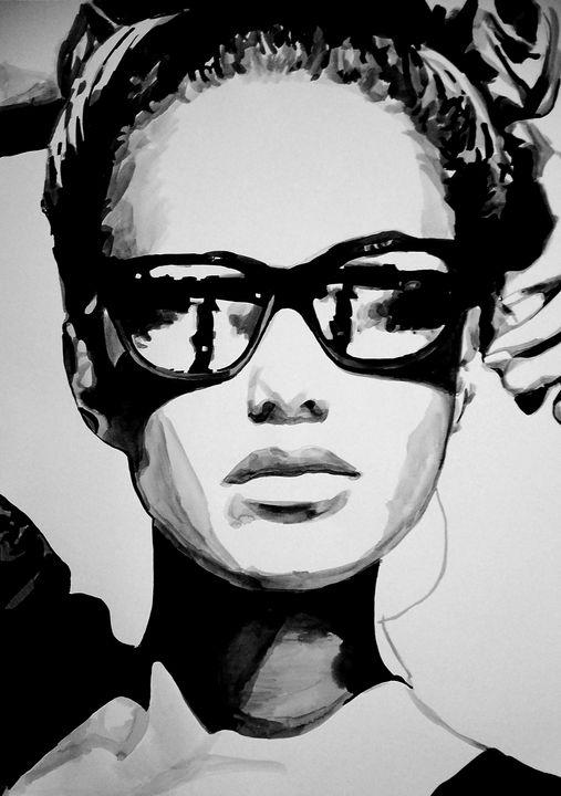 Girl with sunglasses / 101 x 72 cm - Alexandra Djokic