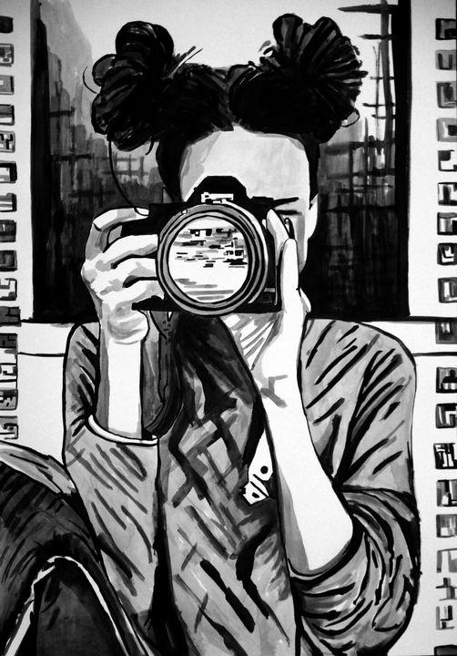 Girl with camera / 100 x 70 cm - Alexandra Djokic
