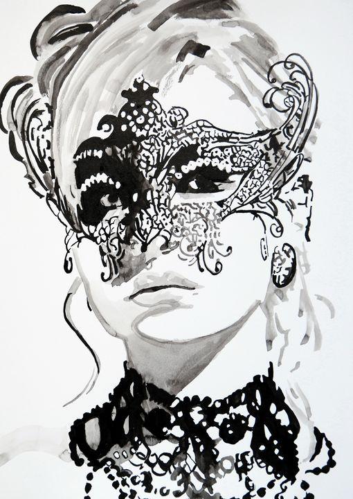 Woman with a mask #7 / 42 X 29.7 cm - Alexandra Djokic