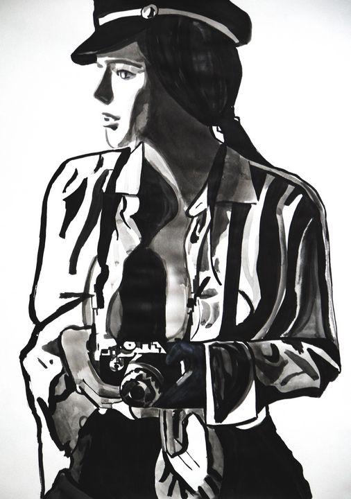 Girl with camera  / 70 X 50 cm - Alexandra Djokic