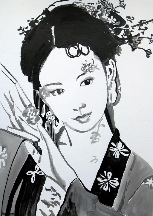Woman in  kimono / 42 X 29.7 cm - Alexandra Djokic