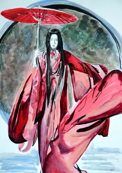 Woman in a red kimono / 42 X 29.7 cm - Alexandra Djokic