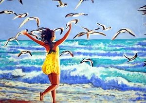 Girl and seagulls / 89 x 63.5 cm
