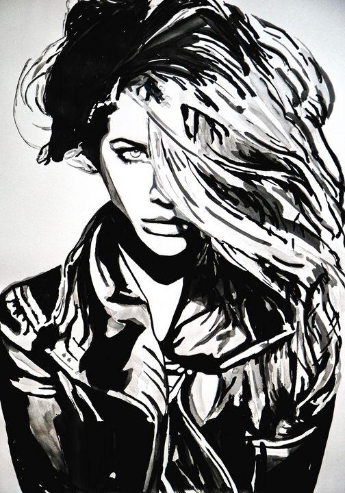 Girl in black jacket / 72 x 51 cm - Alexandra Djokic