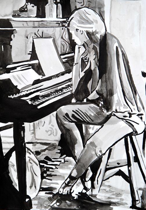 Girl and piano / 42 x 29.7 cm (2019) - Alexandra Djokic