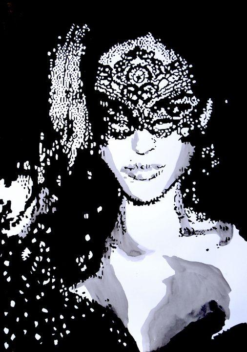 Woman with Mask / 59.5 x 38 cm - Alexandra Djokic