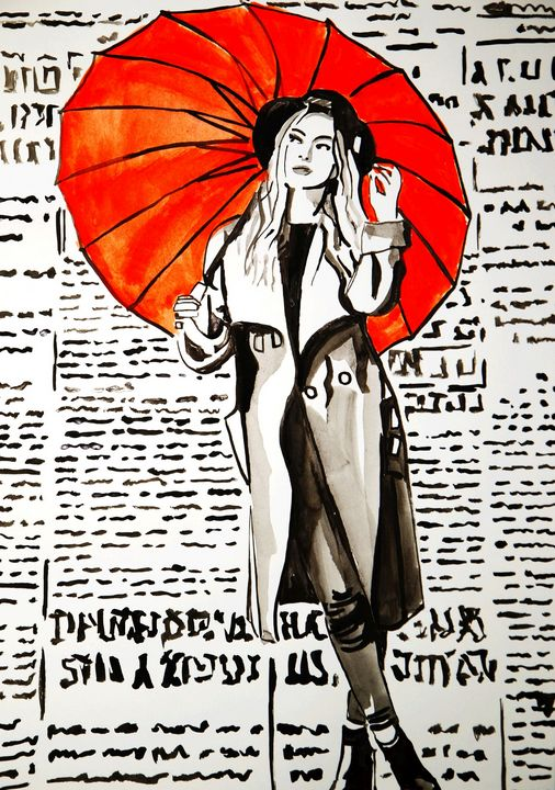 Girl with a red umbrella #1 - Alexandra Djokic