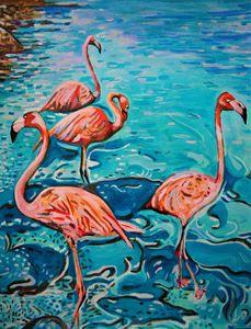 Flamingos / 72 X 55 cm