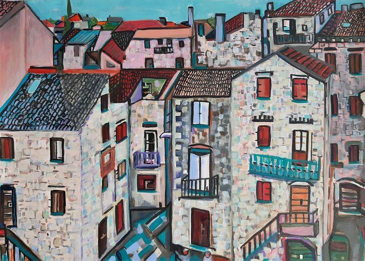Mediterranean street / 70 x 50 cm - Alexandra Djokic