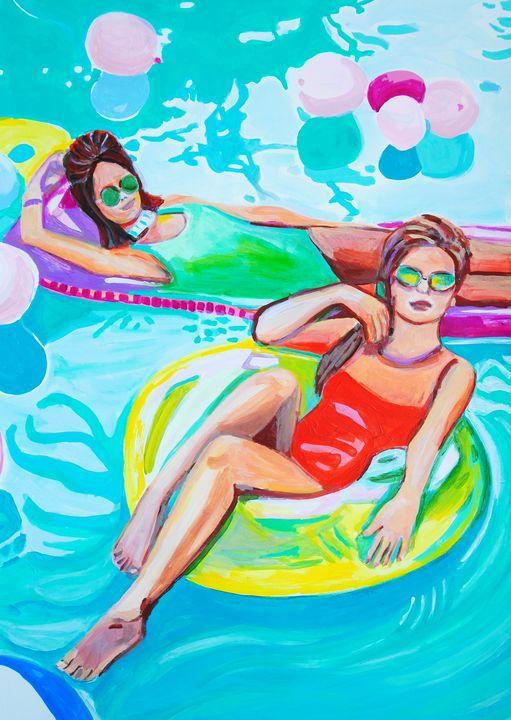 Pool Party IV / 70 X 50 cm - Alexandra Djokic