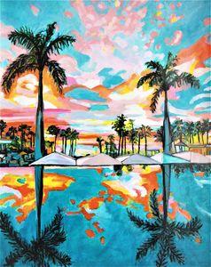 Palm trees / 91 x 70 cm