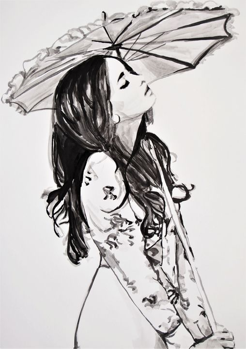 Girl with umbrella / 70 x 50 cm - Alexandra Djokic