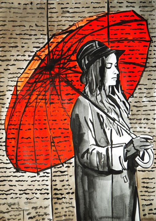 Red with a red umbrella #2 - Alexandra Djokic