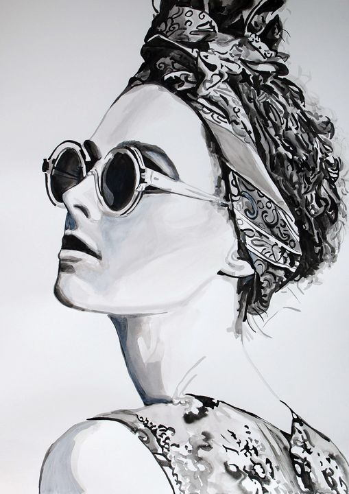 Girl with sunglasses / 70 X 49.8 cm - Alexandra Djokic