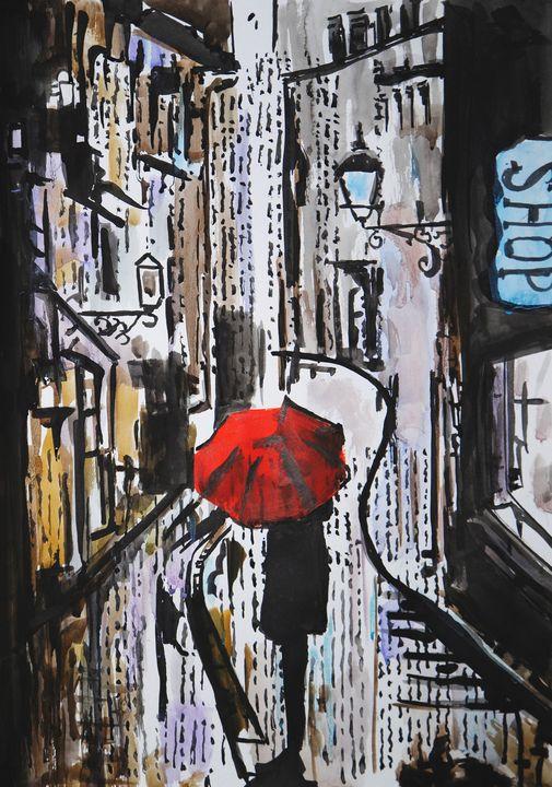 Rainy Town # 02 / 42 x 29.7 cm - Alexandra Djokic