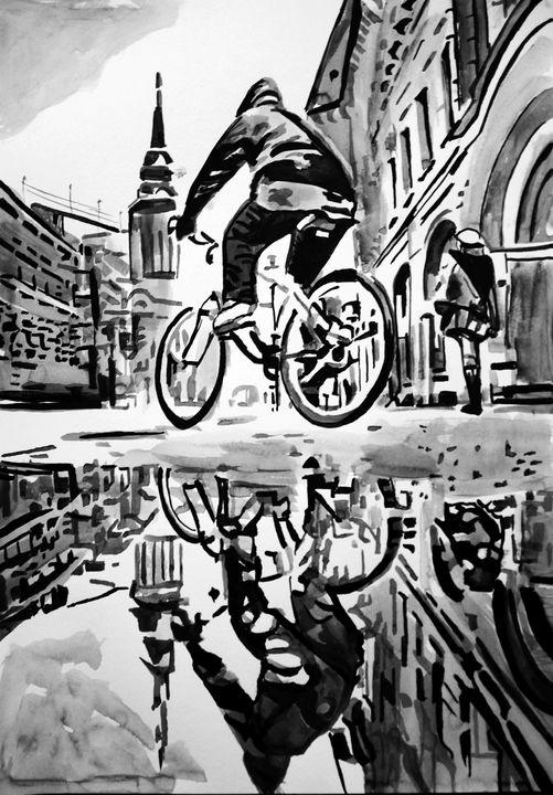 Rainy town / 42 x 29. 7 cm - Alexandra Djokic