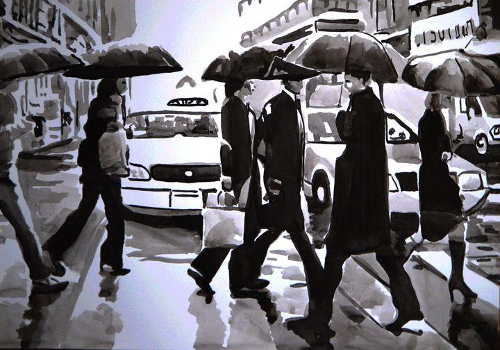 Rainy People / 42 x 29.7 cm (2019) - Alexandra Djokic