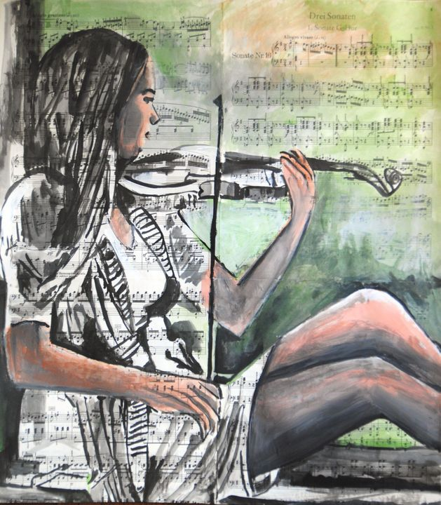A girl with a violin / 51 x 45 cm - Alexandra Djokic