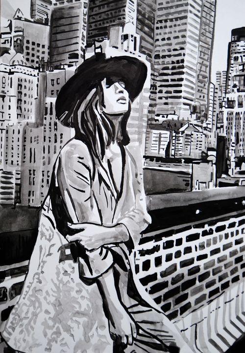 Girl with a hat / 50 X 35 cm( 2019 ) - Alexandra Djokic