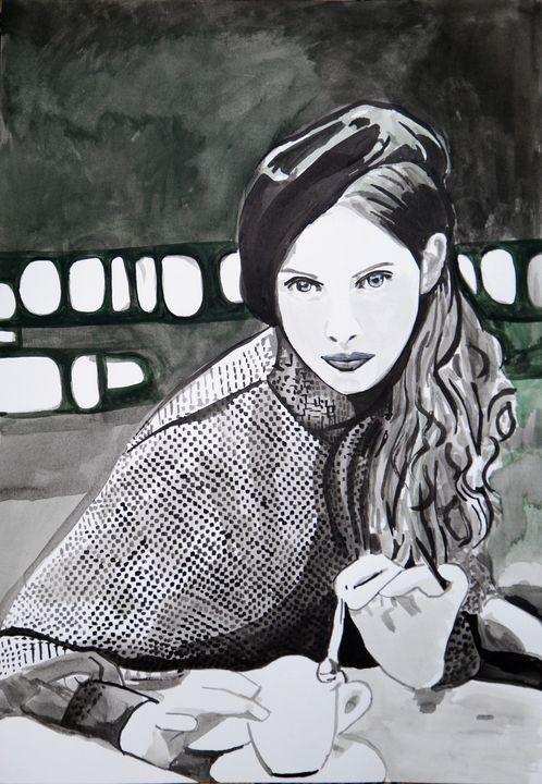 Girl with a beret / 46 X 31.7 cm - Alexandra Djokic