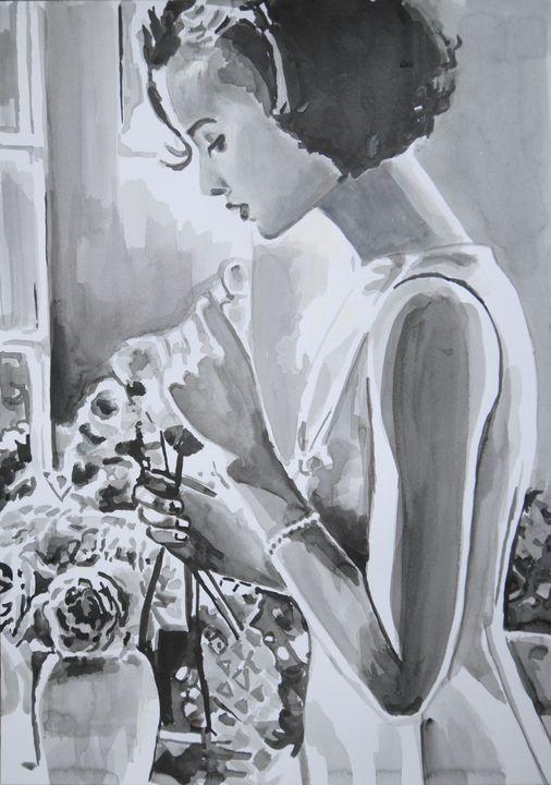 Woman with  roses / 42 x 29.7 cm - Alexandra Djokic