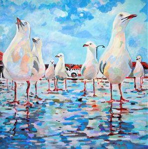Seagulls / 70 X 70 cm