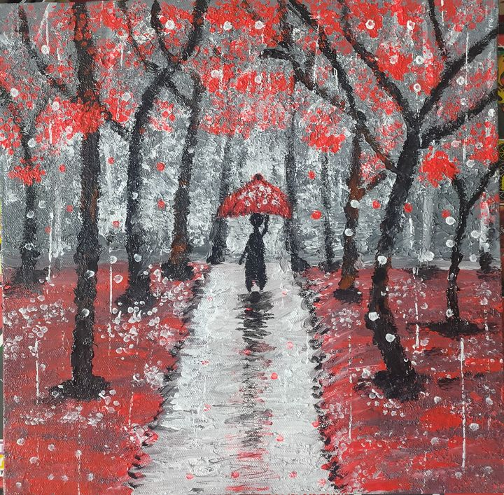 Walk in Rain - Harsha's Paintings