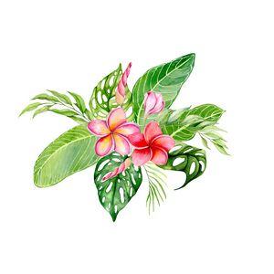 Watercolor tropical bouquet