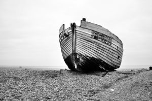 abandoned fishing boat on Dungeness