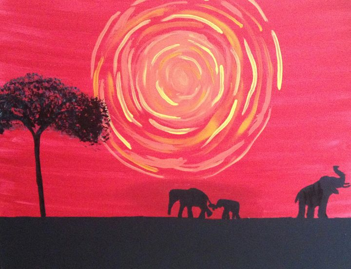 Elephant Sunset - A Smith
