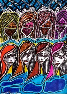 Faces original drawings israeli art