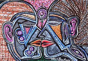 Couple loving expressive artwork