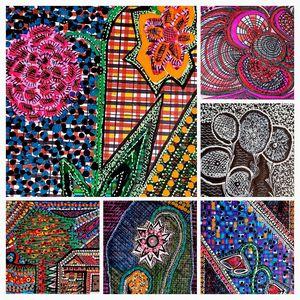 Collage colorful flowers israeli art