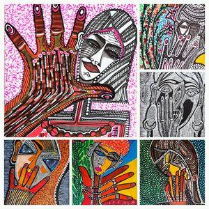 Hamsa collage israeli painter