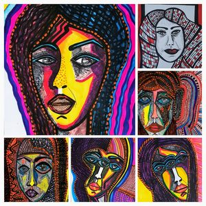 Faces collage contemporary painter
