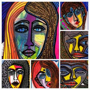 Collage colorful faces woman artist