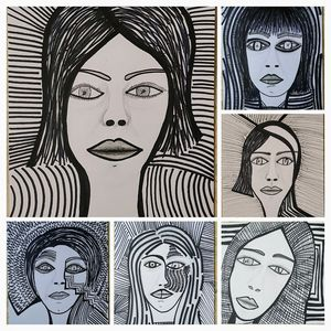 Women expressive faces collage