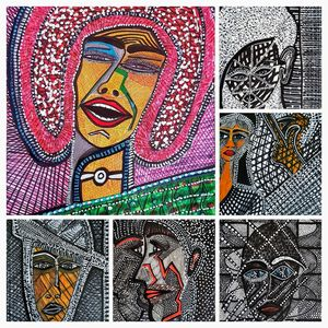 Faces collage colorful art Israel