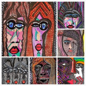 Faces expressive collage art Israel