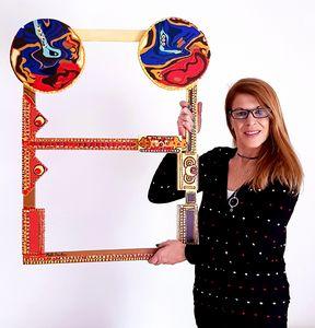 Framed painted acrylic piece wood