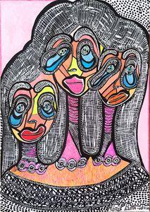Women expressive faces artwork