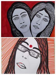 Faces expressive modern art Israel
