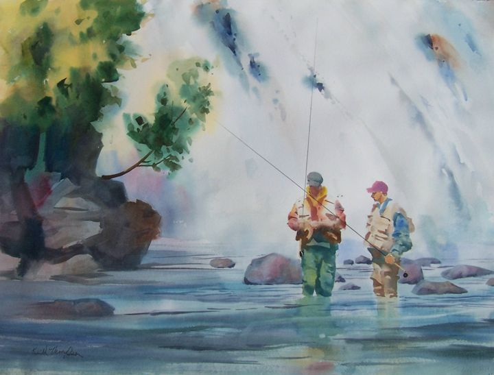 Fishing the Falls - keiththompsonart