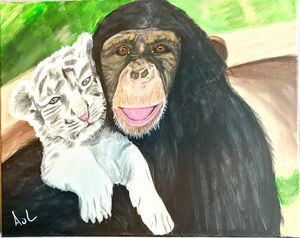 Chimp with white tiger