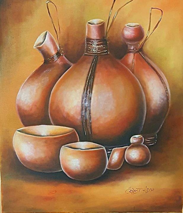 African Calabash Gourds Original Art - Donodio Inc.