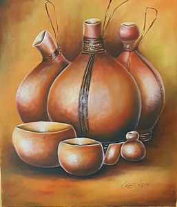 African Calabash Gourds Original Art