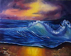 Ocean Wave Tide Blue Waters at Night