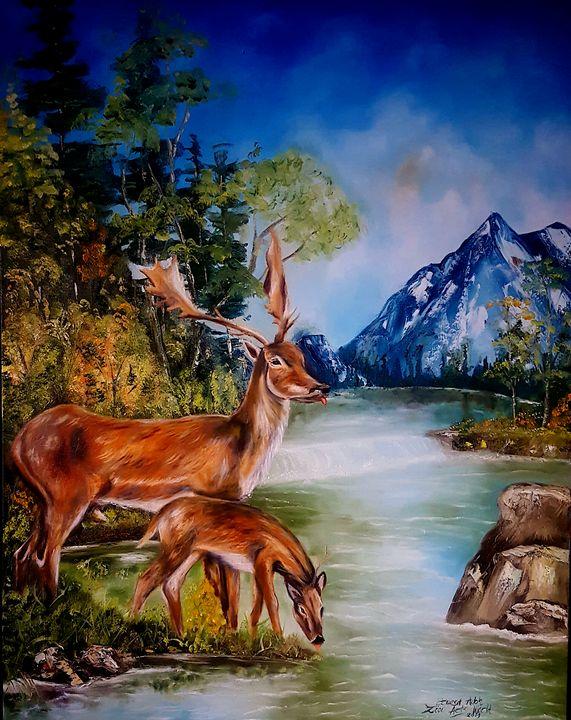 Deers drinking water - Donodio Inc.