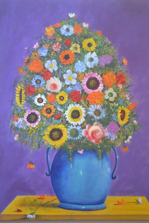 Flowers in Blue Vase - Narvaez Gallery