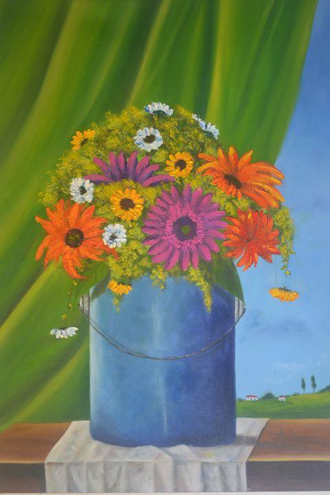 Flowers in Milk Bucket - Narvaez Gallery